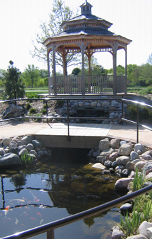A gazebo and water feature help draw residents outside.