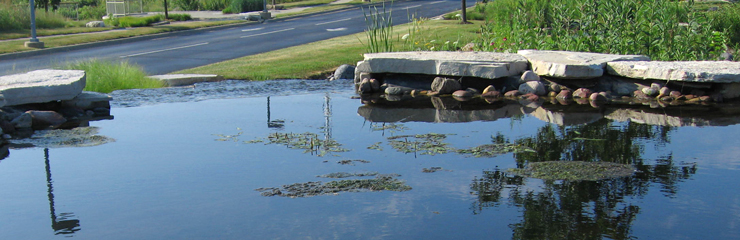 A water feature at Tellabs, a project for which WRD Environmental has improved water quality in the landscape