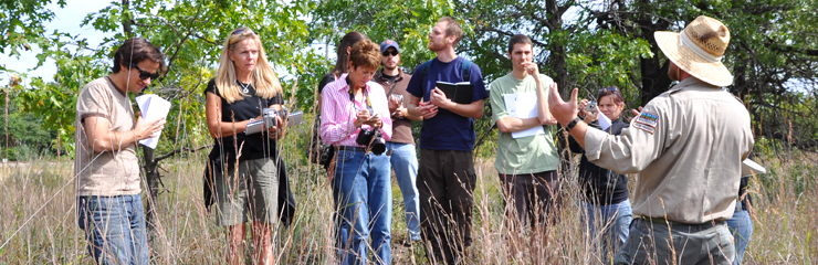 Field learning at a prairie restoration for an Illinois Institute of Technology class taught by WRD's Jay Womack