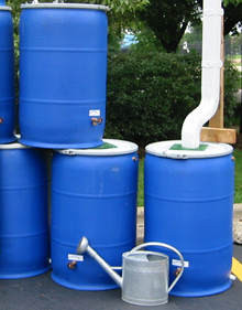 A sample rain barrel setup with rain barrels designed by WRD